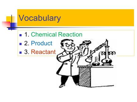 Vocabulary 1. Chemical Reaction 2. Product 3. Reactant.