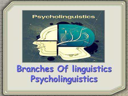 Branches Of linguistics Psycholinguistics. Psycholinguistics Is a branch of study which combines the disciplines of psychology and linguistics. It is.