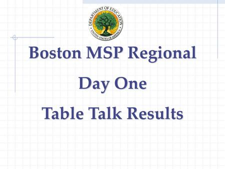 Boston MSP Regional Day One Table Talk Results. Common Vision/Goals/Expectations IHE improvement of instructional Expectations delineated in RFP Communication.