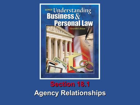 Agency Relationships Section 18.1. Understanding Business and Personal Law Agency Relationships Section 18.1 Creation of an Agency Section 18.1 Agency.