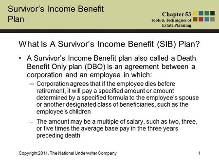 Survivor's Income Benefit Plan Chapter 53 Tools & Techniques of Estate Planning Copyright 2011, The National Underwriter Company1 A Survivor's Income Benefit.