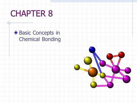CHAPTER 8 Basic Concepts in Chemical Bonding. Introduction Attractive forces that hold atoms together in compounds are called chemical bonds. The electrons.