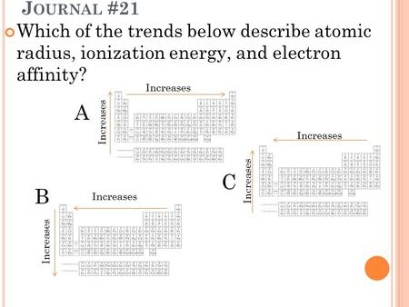 J OURNAL #21 Which of the trends below describe atomic radius, ionization energy, and electron affinity? A B C Increases.