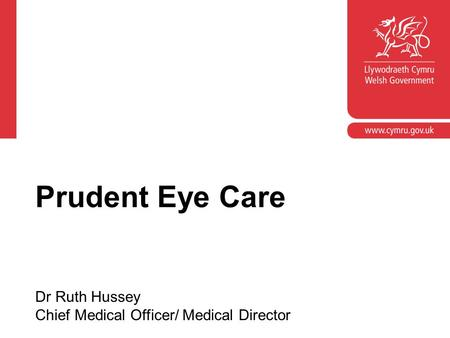 Corporate slide master With guidelines for corporate presentations Prudent Eye Care Dr Ruth Hussey Chief Medical Officer/ Medical Director.