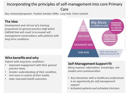 Incorporating the principles of self-management into core Primary Care Key contacts/proposers: Pauline Sanders-Telfer, Lucy Hall, Claire Garbutt The idea.