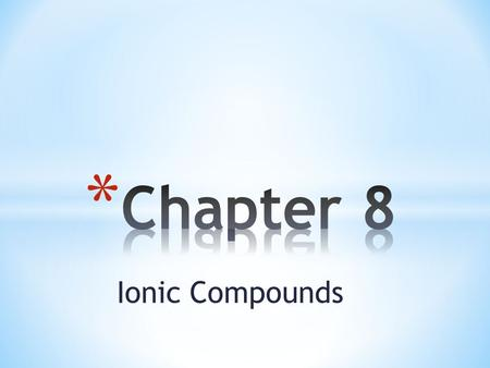 Ionic Compounds. * Chemical Bond * Cation * Anion * Ionic Bond * Electrolyte * Formula Unit.