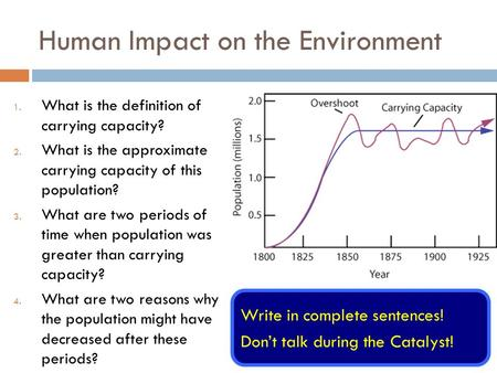Human Impact on the Environment 1. What is the definition of carrying capacity? 2. What is the approximate carrying capacity of this population? 3. What.
