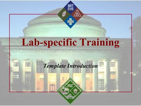 Lab-specific Training Template Introduction. MIT EHS Office 2/2/2016 2 Welcome! Introduction: Pam Greenley, EHS Mike Savio, TAT Lab-specific Training.