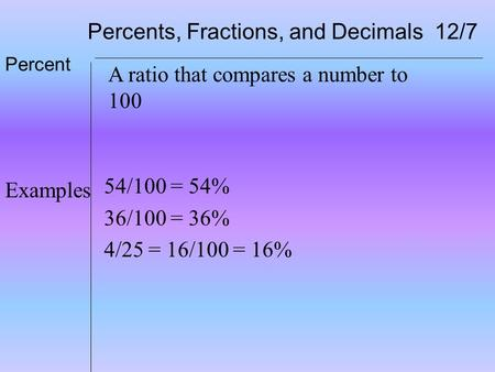 Percents, Fractions, and Decimals 12/7