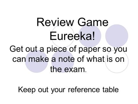 Review Game Eureeka! Get out a piece of paper so you can make a note of what is on the exam. Keep out your reference table.