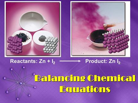 Balancing Chemical Equations Reactants: Zn + I 2 Product: Zn I 2.