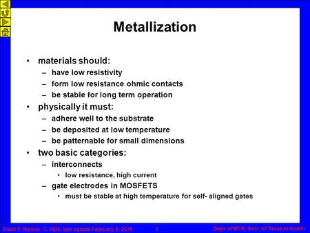Dean P. Neikirk © 1999, last update February 2, 20161 Dept. of ECE, Univ. of Texas at Austin Metallization materials should: –have low resistivity –form.