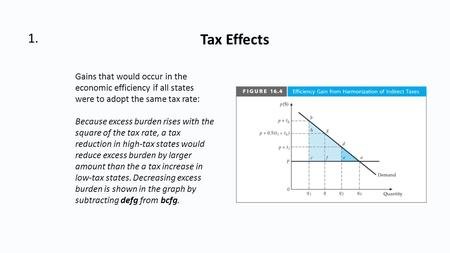 1. Tax Effects Gains that would occur in the economic efficiency if all states were to adopt the same tax rate: Because excess burden rises with the square.