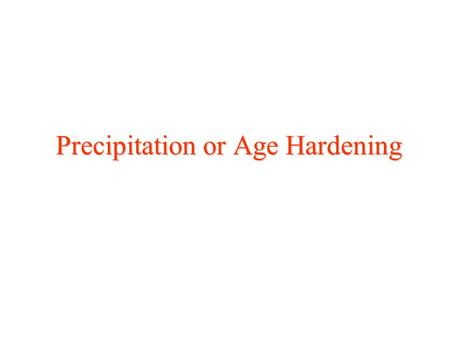 Precipitation or Age Hardening. Dispersion Strengthening –Two Phase, Non-Coherent –Point and Surface Defect –Medium Strengthening Effect Defects and Strengthening.