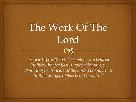 "1 Corinthians 15:58 ""Therefore, my beloved brothers, be steadfast, immovable, always abounding in the work of the Lord, knowing that in the Lord your labor."