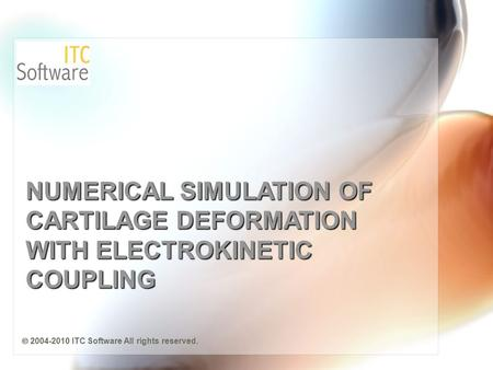 NUMERICAL SIMULATION OF CARTILAGE DEFORMATION WITH ELECTROKINETIC COUPLING  2004-2010 ITC Software All rights reserved.