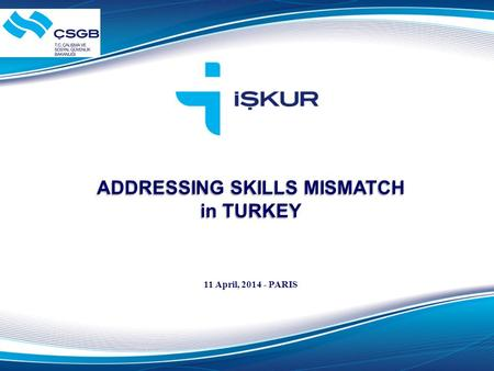 ADDRESSING SKILLS MISMATCH in TURKEY 11 April, 2014 - PARIS.