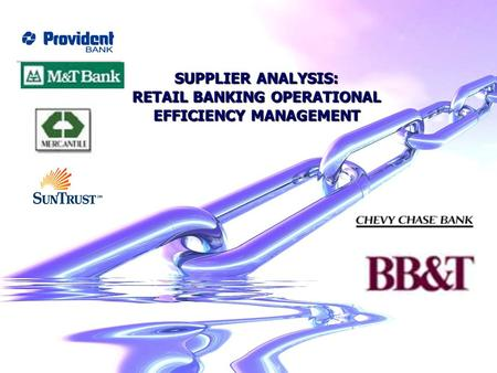 SUPPLIER ANALYSIS: RETAIL BANKING OPERATIONAL EFFICIENCY MANAGEMENT.