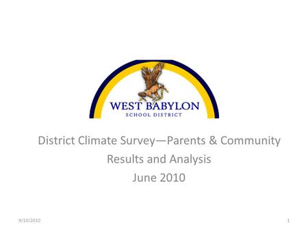District Climate Survey—Parents & Community Results and Analysis June 2010 9/10/20101.