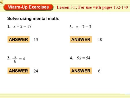 Solve using mental math.