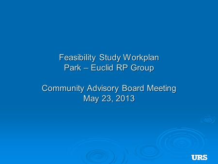 Feasibility Study Workplan Park – Euclid RP Group Community Advisory Board Meeting May 23, 2013.