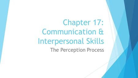 Chapter 17: Communication & Interpersonal Skills The Perception Process.