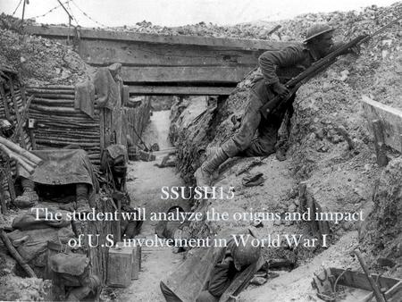 SSUSH15 The student will analyze the origins and impact of U.S. involvement in World War I.