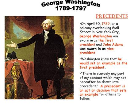 On April 30, 1789, on a balcony overlooking Wall Street in New York City, George Washington was sworn in as the first president and John Adams was sworn.