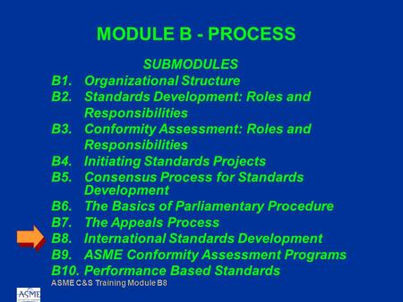 ASME C&S Training Module B8 MODULE B - PROCESS SUBMODULES B1.Organizational Structure B2.Standards Development: Roles and Responsibilities B3.Conformity.