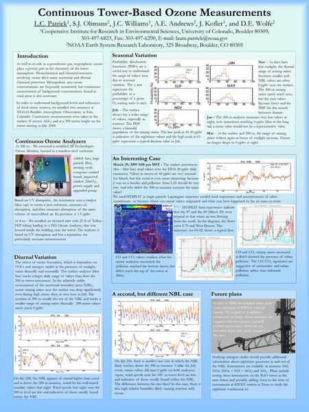 A second, but different NBL case Seasonal Variation Diurnal Variation Continuous Tower-Based Ozone Measurements L.C. Patrick 1, S.J. Oltmans 2, J.C. Williams.