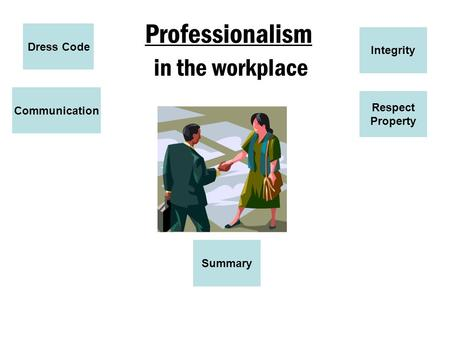 Professionalism in the workplace Dress Code Communication Respect Property Integrity Summary.