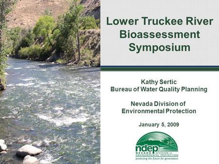 Lower Truckee River Bioassessment Symposium Kathy Sertic Bureau of Water Quality Planning Nevada Division of Environmental Protection January 5, 2009.