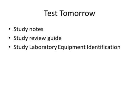 Test Tomorrow Study notes Study review guide Study Laboratory Equipment Identification.