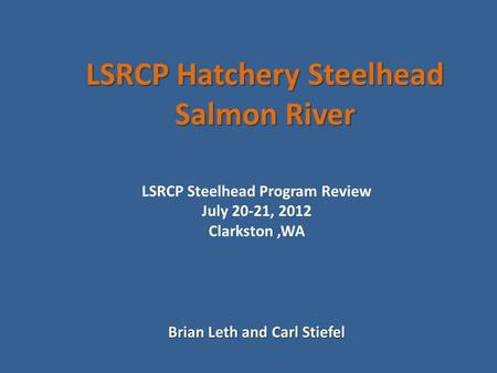 LSRCP Hatchery Steelhead Salmon River Brian Leth and Carl Stiefel LSRCP Steelhead Program Review July 20-21, 2012 Clarkston,WA.