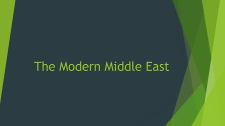 The Modern Middle East. Post WWII Middle East  The creation of Israel after WWII led to many issues in the Middle East  Sought to achieve political.