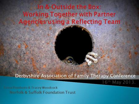 Derbyshire Association of Family Therapy Conference 16 th May 2013. Tania Pombeiro & Tracey Woodcock Norfolk & Suffolk Foundation Trust.