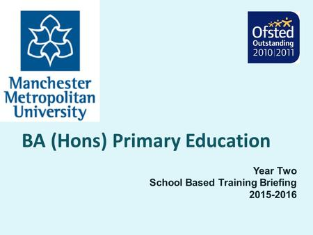 BA (Hons) Primary Education Year Two School Based Training Briefing 2015-2016.