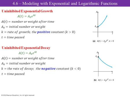 © 2010 Pearson Education, Inc. All rights reserved Uninhibited Exponential Growth Uninhibited Exponential Decay 4.6 – Modeling with Exponential and Logarithmic.