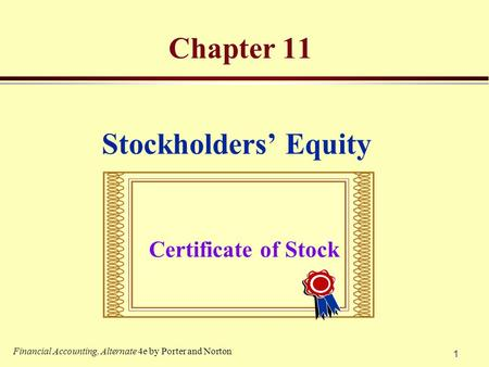 Chapter 11 Stockholders' Equity