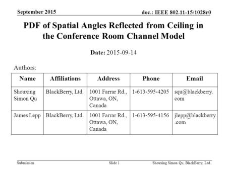 Submission doc.: IEEE 802.11-15/1028r0 September 2015 Shouxing Simon Qu, BlackBerry, Ltd..Slide 1 PDF of Spatial Angles Reflected from Ceiling in the Conference.