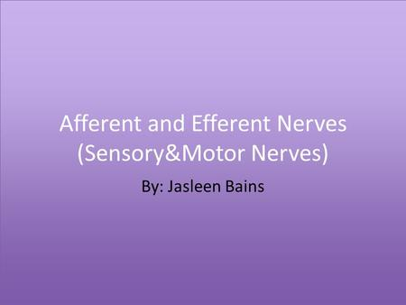 Afferent and Efferent Nerves (Sensory&Motor Nerves) By: Jasleen Bains.