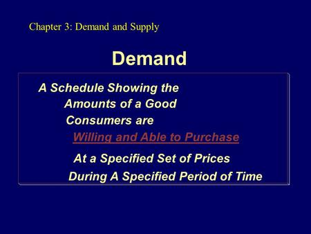 Demand A Schedule Showing the Consumers are Willing and Able to Purchase At a Specified Set of Prices During A Specified Period of Time Amounts of a Good.