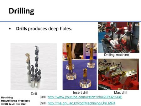 Drilling Drills produces deep holes. Drilling machine Insert drill