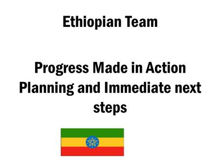 Ethiopian Team Progress Made in Action Planning and Immediate next steps.