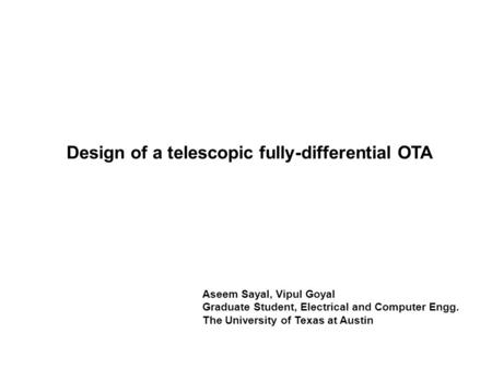 Design of a telescopic fully-differential OTA
