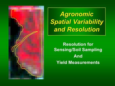 Agronomic Spatial Variability and Resolution Resolution for Sensing/Soil Sampling And Yield Measurements.