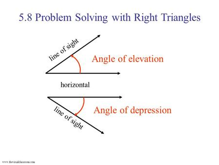 Www.thevisualclassroom.com 5.8 Problem Solving with Right Triangles Angle of elevation horizontal line of sight Angle of depression line of sight.