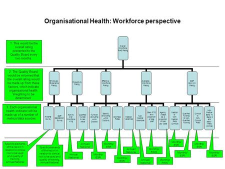 Organisational Health: Workforce perspective Overall Workforce RAG Rating Employee Experience Rating PMETB Survey Staff Satisfaction Survey Productivity.