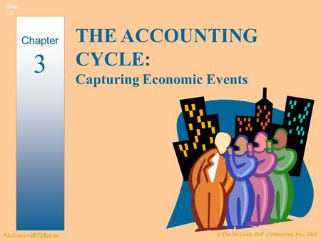 © The McGraw-Hill Companies, Inc., 2003 McGraw-Hill/Irwin Slide 3-1 Chapter 3 THE ACCOUNTING CYCLE: Capturing Economic Events.