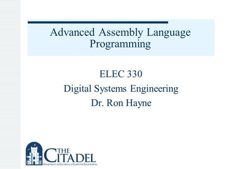 Advanced Assembly Language Programming